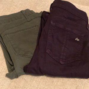 Skinny jeans lot of 2 rag & bone sz 24 burgundy